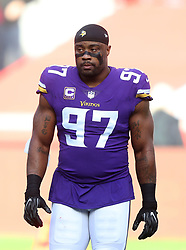 Minnesota Vikings' Everson Griffen during warm-up before during the International Series NFL match at Twickenham, London. PRESS ASSOCIATION Photo. Picture date: Sunday October 29, 2017. See PA story GRIDIRON London. Photo credit should read: Simon Cooper/PA Wire. RESTRICTIONS: News and Editorial use only. Commercial/Non-Editorial use requires prior written permission from the NFL. Digital use subject to reasonable number restriction and no video simulation of game.