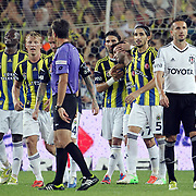 Fenerbahce's celebrates his goal Moussa Sow, Dirk Kuyt, Hasan Ali Kaldirim, Gokhan Gonul, Mehmet Topal (L-R) during their Turkish Superleague soccer derby match Fenerbahce between Besiktas at Sukru Saracaoglu stadium in Istanbul Turkey on Sunday 07 October 2012. Photo by TURKPIX