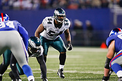 Philadelphia Eagles linebacker Jeremiah Trotter #54 during the NFL game between the Philadelphia Eagles and the New York Giants on December 13th 2009. The Eagles won 45-38 at Giants Stadium in East Rutherford, New Jersey. (Photo By Brian Garfinkel)