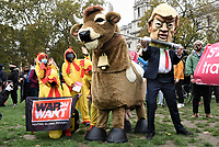 Stop Trump and Stop the US Trade Deal a protest in Parliament Square., Parliament Square, London, UK - 24 Oct 2020 Photo by Krisztian Elek