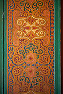 Berber arabesque wood painted  panel.The Petite Court, Bahia Palace, Marrakesh, Morroco .<br /> <br /> Visit our MOROCCO HISTORIC PLAXES PHOTO COLLECTIONS for more   photos  to download or buy as prints https://funkystock.photoshelter.com/gallery-collection/Morocco-Pictures-Photos-and-Images/C0000ds6t1_cvhPo<br /> .<br /> <br /> Visit our ISLAMIC HISTORICAL PLACES PHOTO COLLECTIONS for more photos to download or buy as wall art prints https://funkystock.photoshelter.com/gallery-collection/Islam-Islamic-Historic-Places-Architecture-Pictures-Images-of/C0000n7SGOHt9XWI