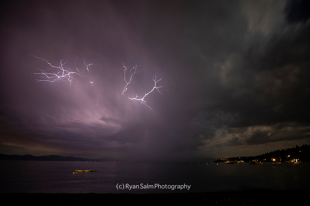 Lightning over Lake Tahoe