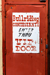 Old Bullriding sign,  Fort Worth Stockyards National Historic District, Fort Worth, Texas, USA.