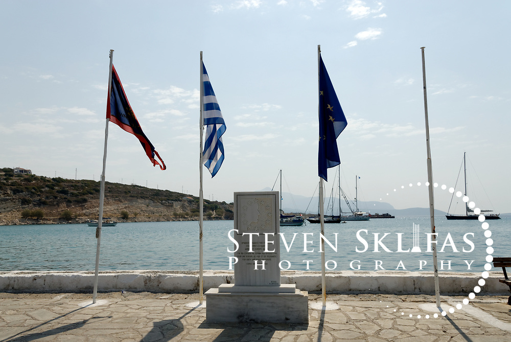 Samos. Greece. The Women of Europe monument on the awarded to Samos in 1997 positioned on the Pythagoreio waterfront.  The town is the most popular and fashionable on the island and was named after the great philosopher Pythaogaras who was born here in 580 BC.