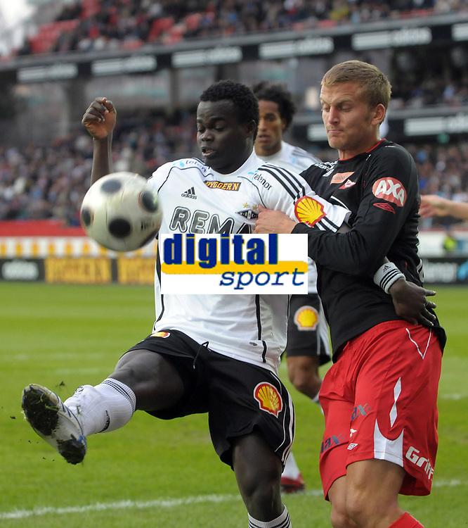 Fotball tippeligaen 12.04.08 Rosenborg ( RBK ) - Fredikstad,<br /> Didier Konan Ya RBK og Gardar Johansson Fredrikstad,<br /> Foto: Carl-Erik Eriksson, Digitalsport