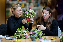 © Licensed to London News Pictures. 14/02/2017. London, UK. Members of the public take part in a floristry and flower arrangement class at the RHS Early Spring Plant Fair, where exhibitors showcase their flora at Lindley Hall, London. Some exhibitors are previewing designs for Show gardens at this years Chelsea Flower Show. Photo credit : Tom Nicholson/LNP