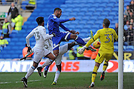 Cardiff City's Kenneth Zohore © shoots at goal but  hits the bar late in the first half as he is challenged by Aston Villa defenders. EFL Skybet championship match, Cardiff city v Aston Villa at the Cardiff City Stadium in Cardiff, South Wales on Monday 2nd January 2017.<br /> pic by Carl Robertson, Andrew Orchard sports photography.
