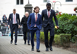 Stoke City's Joe Allen (left) and Mame Diouf arrive at the funeral service for Gordon Banks at Stoke Minster.
