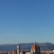 FLORENCE, ITALY - OCTOBER 31: <br /> A view of Florence showing Florence's Cathedral, Basilica di Santa Maria del Fiore, known as Duomo in Florence, Italy. The Duomo is the main church of the city of Florence. Construction was started in 1296 in the Gothic style with the structure completed in 1436. The famous dome was designed by Arnolfo di Cambio and engineered by Filippo Brunelleschi. Florence, Italy, 31st October 2017. Photo by Tim Clayton/Corbis via Getty Images)
