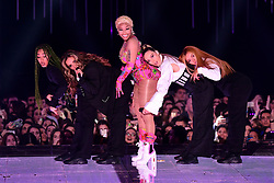 Nicki Minaj performs on stage with Leigh-Anne Pinnock, Jade Thirlwall, Perrie Edwards and Jesy Nelson of Little Mix at the MTV Europe Music Awards 2018 held at the Bilbao Exhibition Centre, Spain.