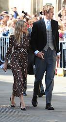 Sienna Miller and Lucas Zwirner arriving at York Minster for the wedding of singer Ellie Goulding to Caspar Jopling.