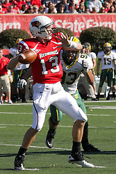 16 October 2010:  Matt Brown during a game where the North Dakota State Bison lost to the Illinois State Redbirds 34-24, meeting at Hancock Stadium on the campus of Illinois State University in Normal Illinois.