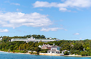 View of the Mackinac Island Grand Hotel from a boat on Lake Huron; Michigan, USA.