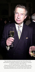 Top amateur jockey and former SAS officer MR BRODERICK MUNRO-WILSON, at a party in London on 6th November 2001.OTX 34