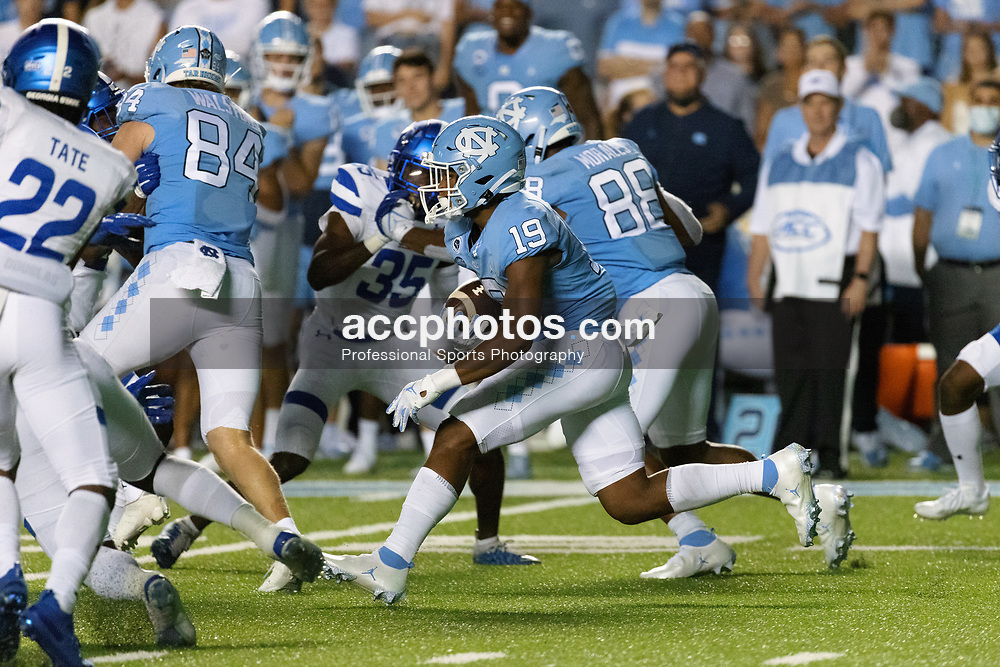 CHAPEL HILL, NC - SEPTEMBER 11: Ty Chandler #19 of the North Carolina Tar Heels plays during a game against the Georgia State Panthers on September 11, 2021 at Kenan Stadium in Chapel Hill, North Carolina. North Carolina won 59-17. (Photo by Peyton Williams/Getty Images) *** Local Caption *** Ty Chandler