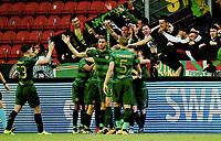 Fotball , 2. august 2017 , Qual. Champions League<br /> Rosenborg - Celtic 0-1<br /> James Forrest , Celtic har scoret og julbler med lagkamerater og Celtic-fans