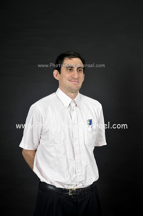 Nerdy man on black background
