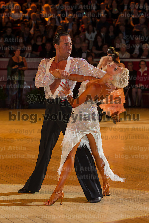 Michal Malitowski and Joanna Leunis from Poland perform their dance during the professional latin-american competition of the International Championships held in Royal Albert Hall, London, United Kingdom. Thursday, 13. October 2011. ATTILA VOLGYI