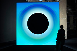"""© Licensed to London News Pictures. 17/05/2021. LONDON, UK. """"Point of No Return"""", 2018, by Ryoji Ikeda. Preview of Ryoki Ikeda's exhibition at 180 The Strand, the largest ever European exhibition of the Japanese artist's work.  Twelve audio-visual digital artworks, five of which have never been seen before, are on show 20 May to 1 August 2021.  Photo credit: Stephen Chung/LNP"""