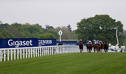 General view of the ridders during the Naas Racecourse Royal Ascot Trials Day British EBF Fillies' Conditions Stakes during Royal Ascot Trials Day at Ascot Racecourse.