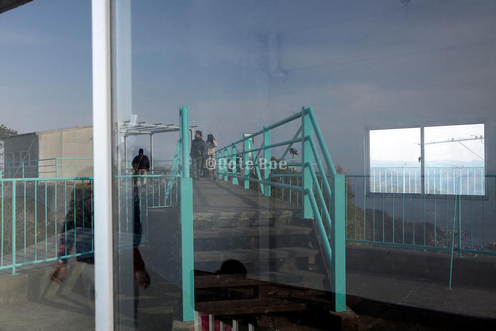 window reflection at the lookout on Mt. Nokogiriyama, Chiba prefecture Japan