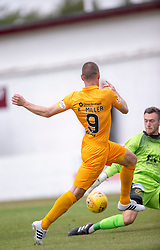 Livingston Kenny Miller scoring their first half goal. half time : Livingston 1 v 0 Annan Athletic, Scottish League Cup Group F, played 21/7/2018 at Prestonfield, Linlithgow.