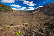 Hiker on the Kilauea Iki trail in the caldera, Hawaii Volcanoes National Park, Hawaii USA
