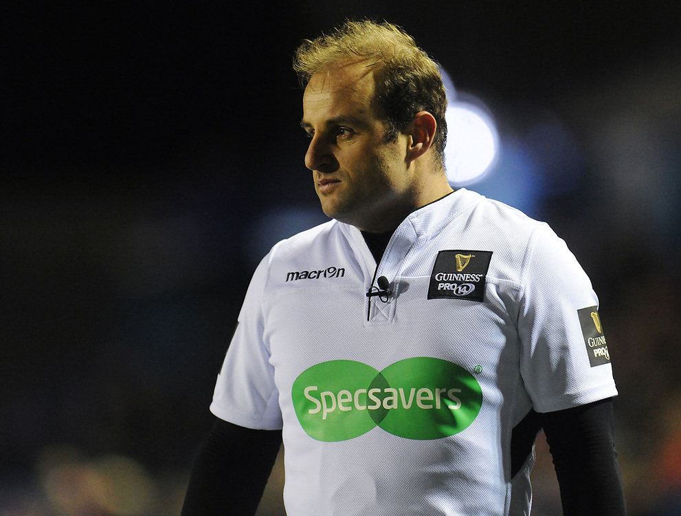 Referee Stuart Berry<br /> <br /> Photographer Kevin Barnes/CameraSport<br /> <br /> Guinness Pro14 Round 15 - Cardiff Blues v Munster Rugby - Saturday 17th February 2018 - Cardiff Arms Park - Cardiff<br /> <br /> World Copyright © 2018 CameraSport. All rights reserved. 43 Linden Ave. Countesthorpe. Leicester. England. LE8 5PG - Tel: +44 (0) 116 277 4147 - admin@camerasport.com - www.camerasport.com