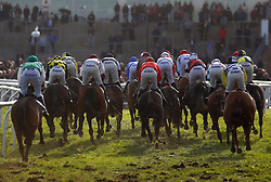 Runners take an early bend in The Velcourt Conditional Jockeys' Handicap Hurdle Race run during day three of the November Meeting at Cheltenham Racecourse. PRESS ASSOCIATION Photo. Picture date: Sunday November 19, 2017. See PA story RACING Cheltenham. Photo credit should read: Julian Herbert/PA Wire