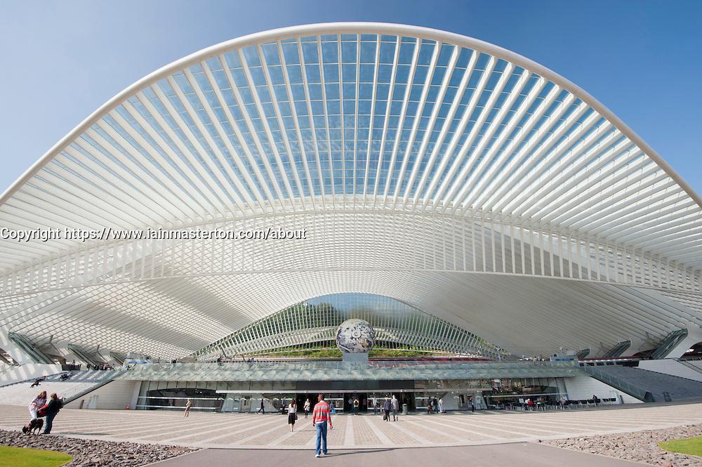 Liège-Guillemins modern railway station designed by architect Santiago Calatrava  in Liege Belgium