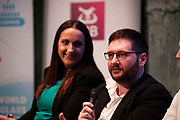 02/04/2019 Repro free:  <br />    Panel Discussion on International Growth Through Innovation and Positioning<br />  Giovanni Tummarello, Founder and CPOat Siren, and  Nicola Barrett, Senior Marketing Managerat Connacht Rugby at Harvest in the Mick Lally Theatre , an opportunity to share ideas for innovation and growth and discuss how to cultivate the city as a destination for innovation, hosted by GTC  and Sponsored by AIB and The Sunday Business Post .<br /> <br /> <br />  Photo: Andrew Downes, Xposure