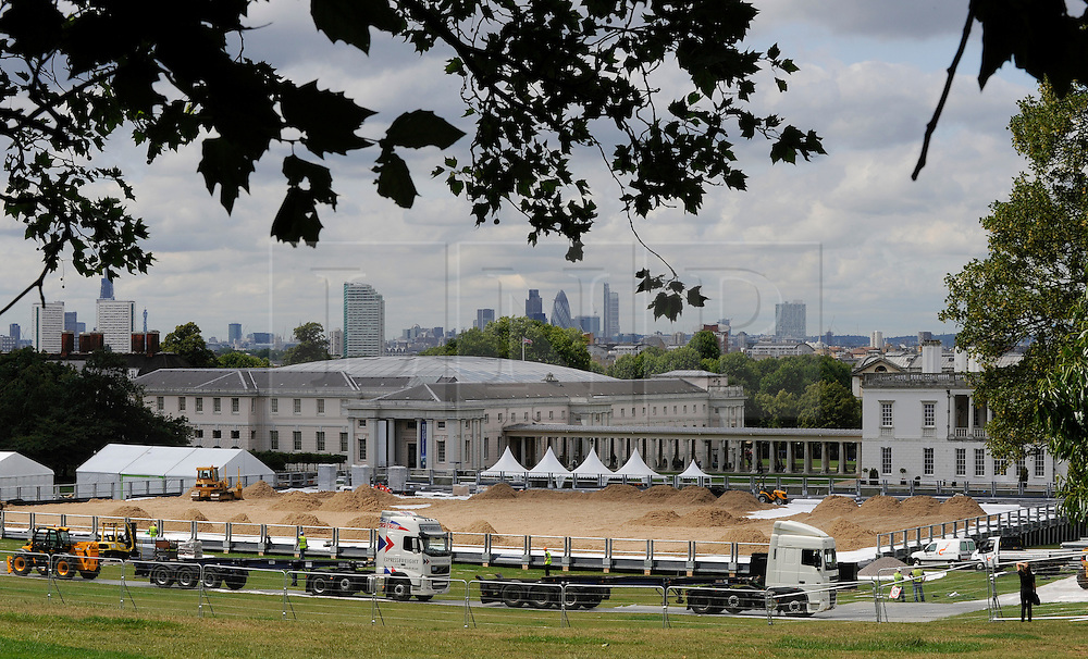 © licensed to London News Pictures. 13/06/2011. London, UK. The Olympic and Paralympic Equestrian arena for London 2012 being built in Greenwich Park in front of the National Maritime Museum, The arena will also hold the combined running and shooting event of the Modern Pentathlon. Please see special instructions..Picture credit should read Grant Falvey/LNP