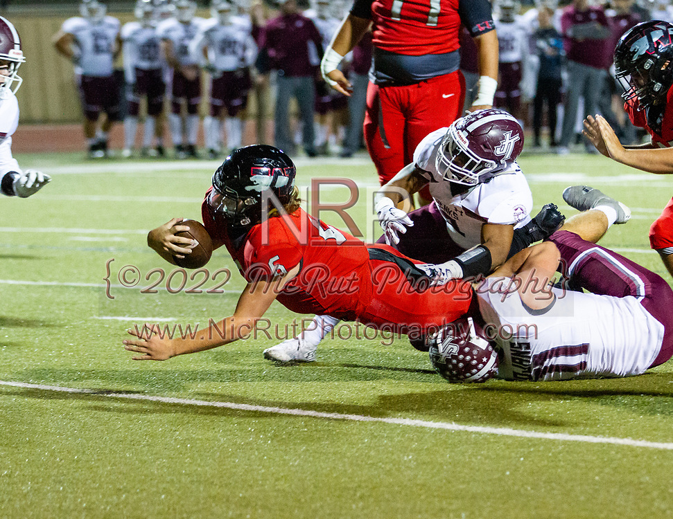 Westmoore's #6,  Dayton Wolfe diving forward to score six points for the Jaguars during the game on, Thursday, November 1, 2018 at Moore Stadium.