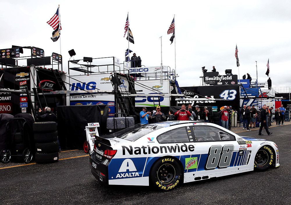 May 5, 2017; Talladega, AL, USA; NASCAR Cup Series driver Dale Earnhardt Jr. (88) pulls out of his garage during practice for the GEICO 500 at Talladega Superspeedway. Mandatory Credit: Peter Casey-USA TODAY Sports