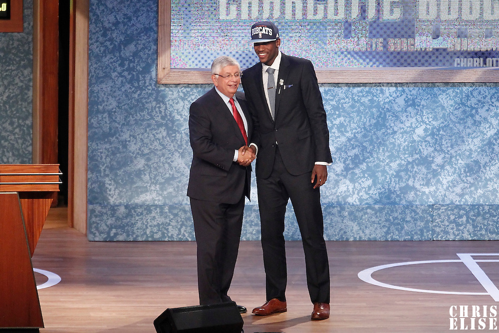 28 June 2012: Michael Kidd-Gilchrist, picked up by the Charlotte Bobcats, poses with David Stern during the 2012 NBA Draft, at the Prudential Center, Newark, New Jersey.