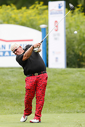 June 22, 2018 - Madison, WI, U.S. - MADISON, WI - JUNE 22:John Daly tees off on the ninth tee during the American Family Insurance Championship Champions Tour golf tournament on June 22, 2018 at University Ridge Golf Course in Madison, WI. (Photo by Lawrence Iles/Icon Sportswire) (Credit Image: © Lawrence Iles/Icon SMI via ZUMA Press)