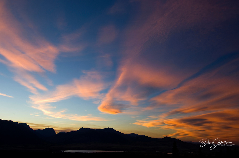 Sunset over Waterton Range and Waterton Valley, Waterton Lakes National Park, Alberta, Canada