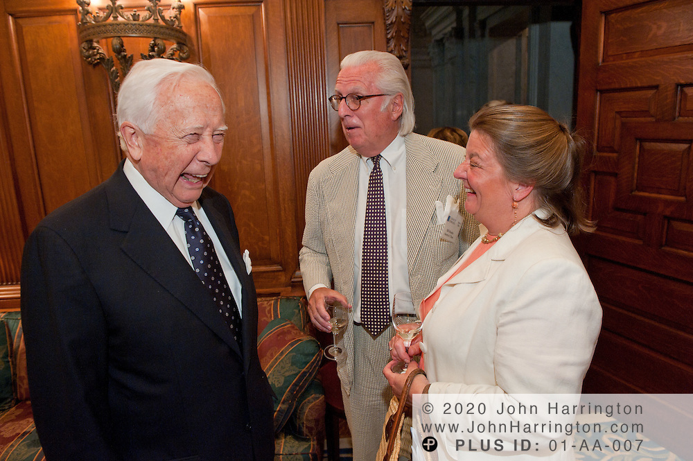 Author David McCullough(left) shares a laugh with members of America's Trust before the presentation of his latest book, The Greater Journey: Americans in Paris at the Library of Congress in Washington, DC on June 1st, 2011.