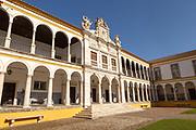 Facade of old chapel Colégio do Espírito Santo, historic courtyard of Evora University, Evora, Alto Alentejo, Portugal, Southern Europe