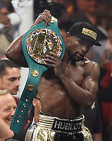 May 2.2015. Las Vegas NV. Floyd Mayweather Jr. holds his belt after going 12 rounds with Manny Pacquiao Saturday at the MGM Grand Hotel. Floyd Mayweather Jr. took the win by  unanimous decision over Manny Pacquiao in Las Vegas.<br /> Photo by Gene Blevins/LA Daily News