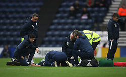 Nico Yennaris of Brentford is treated on the pitch after getting injured - Mandatory by-line: Jack Phillips/JMP - 28/10/2017 - FOOTBALL - Deepdale - Preston, England - Preston North End v Brentford - Football League Championship