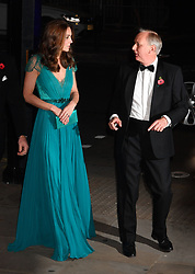 The Duchess of Cambridge talks with the chief executive of Tusk, Charles Mayhew, as she attends the Tusk Conservation Awards at Banqueting House, London.