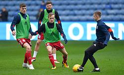 Birmingham City's Maikel Kieftenbeld (centre) warms up ahead of the match