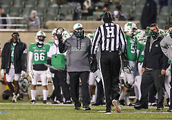Dec 18, 2020; Huntington, West Virginia, USA; Marshall Thundering Herd head coach Doc Holliday talks to an official during the first quarter against the UAB Blazers at Joan C. Edwards Stadium. Mandatory Credit: Ben Queen-USA TODAY Sports