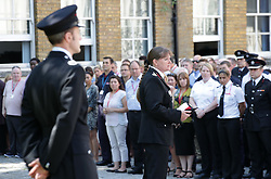 London Fire Brigade Commissioner Dany Cotton makes a speech as she joins firefighters and LFB staff at Winchester House, in central London, after observing a minute's silence in memory of those people who died in last week's fire at Grenfell Tower.