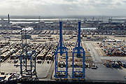 Nederland, Zuid-Holland, Rotterdam, 23-10-2013; Europhaven met  APM Terminals (Maersk)<br /> Container terminal Rotterdam, Harbor APM Terminals (Maersk).<br /> luchtfoto (toeslag op standard tarieven);<br /> aerial photo (additional fee required);<br /> copyright foto/photo Siebe Swart