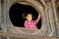 Nepal - Vallée de Kathmandu - Ville de Patan - Fenêtre d'une maison Newar
