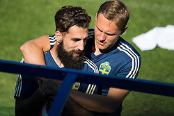 July 4, 2018 - Gelendzhik, Russia - 180704 Jimmy Durmaz and Ludwig Augustinsson of the Swedish national football team at a practice session during the FIFA World Cup on July 4, 2018 in Gelendzhik..Photo: Petter Arvidson / BILDBYRN / kod PA / 92081 (Credit Image: © Petter Arvidson/Bildbyran via ZUMA Press)