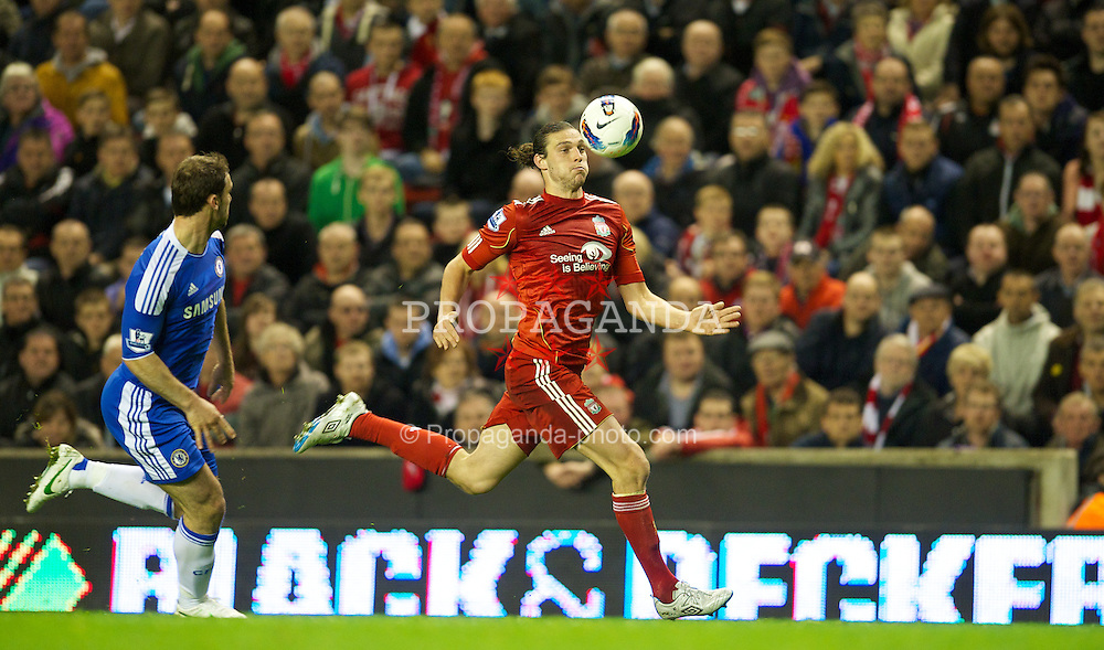 LIVERPOOL, ENGLAND - Tuesday, May 8, 2012: Liverpool's Andy Carroll in action against Chelsea during the final home Premiership match of the season at Anfield. (Pic by David Rawcliffe/Propaganda)