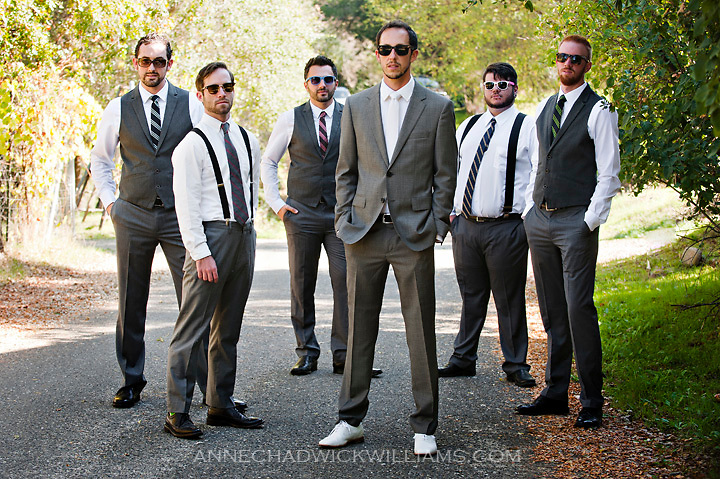 A groom and his groomsmen before his wedding the Emmanuel Church in Coloma California.